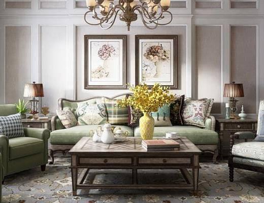 美式客厅, 客厅餐厅, 沙发组合, 客厅