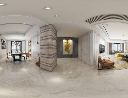 现代客餐厅, 椅子, 多人沙发, 茶几, 桌子, 吊灯, 壁画, 现代