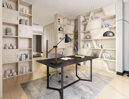 现代简约, 书房, 桌椅组合, 台灯, 置物架, 书籍