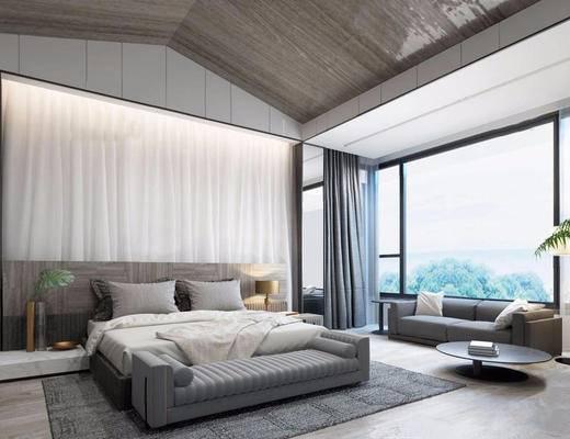 现代, 卧室, 窗帘, 床, 地毯, 沙发, 桌几, 台灯, 床头柜