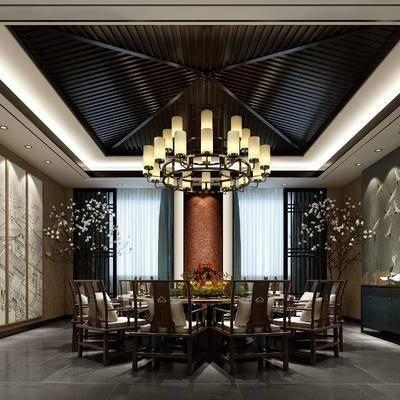 中式包间, 桌子, 椅子, 壁画, 吊灯, 盆栽, 边柜, 中式