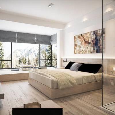 现代宾馆, 壁画, 双人床, 吊灯, 壁灯, 相框, 现代