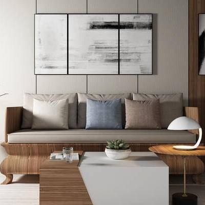 沙发组合, 多人沙发, 壁画, 茶几, 边几, 花瓶, 新中式