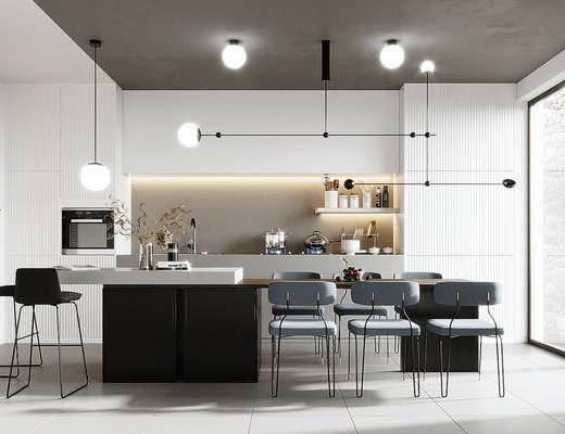 餐桌, 吊灯, 墙饰, 摆件组合