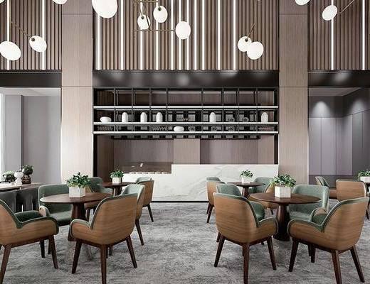 现代休闲区, 餐桌, 沙发椅, 吊灯, 绿植, 现代
