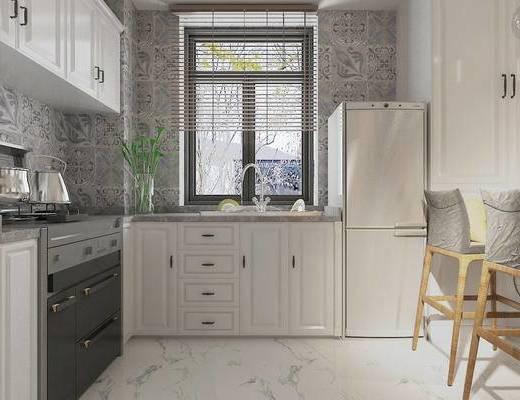 现代, 厨房, 橱柜, 花瓶, 植物, 茶壶, 冰箱