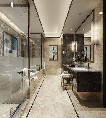 卫浴, 洗手台, 镜子, 壁灯, 壁画, 淋浴间, 毛巾, 现代