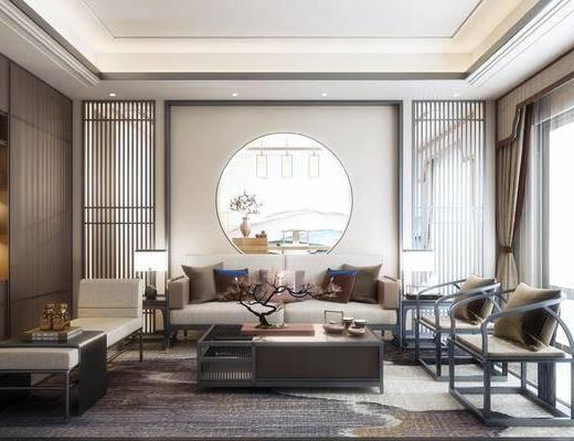 沙发组合, 茶几, 背景墙, 摆件组合, 单椅, 边几