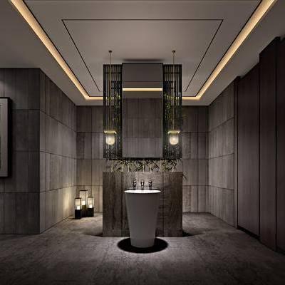 现代卫生间, 吊灯, 洗手台, 壁画, 现代