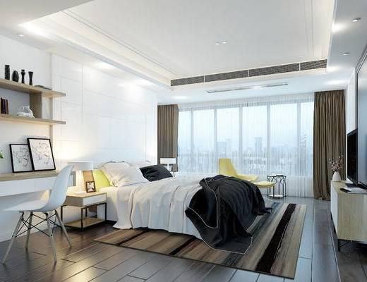 现代, 卧室, 床, 电视柜, 边柜, 装饰柜, 书桌, 椅子, 摆件, 1000套空间酷赠送模型