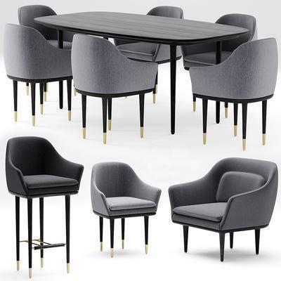 现代, 工业风, 餐桌, 椅子