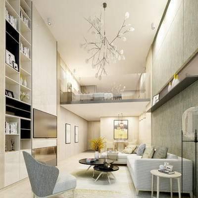 现代客厅, 吊灯, 多人沙发, 茶几, 边几, 椅子, 置物柜, 壁画, 落地灯, 现代