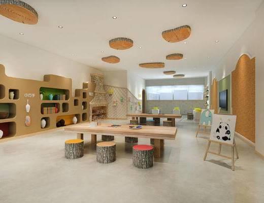 学校, 桌子, 置物柜, 凳子, 现代