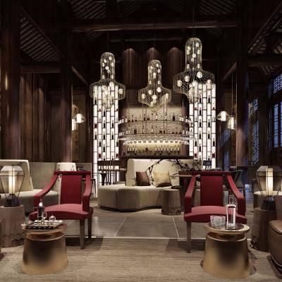 新中式酒店大堂, 新中式多人沙发, 新中式桌椅组合, 吊灯, 边几, 台灯, 储物架, 吧台, 壁画, 酒杯, 新中式