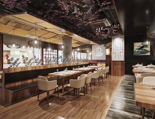 日式, 料理店, 前台, 收银台, 餐具, 餐桌, 椅子, 卡座, 门帘, 橱窗, 柜架, 柜子, 边柜, 挂画, 装饰画