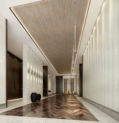 走廊过道, 多人沙发, 茶几, 椅子, 花瓶, 现代