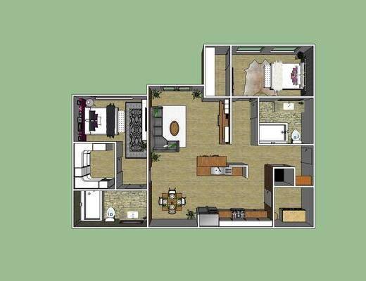 现代卧室, 现代公寓, 客厅餐厅, 卧室