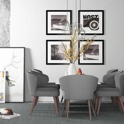 桌椅组合, 椅子, 桌子, 壁画, 吊灯, 花瓶, 现代