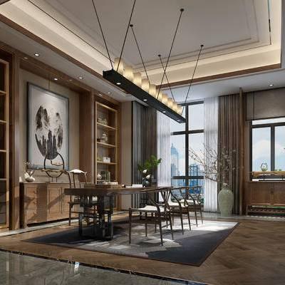 中式书房, 桌子, 椅子, 壁画, 吊灯, 置物柜, 边几, 地毯, 中式