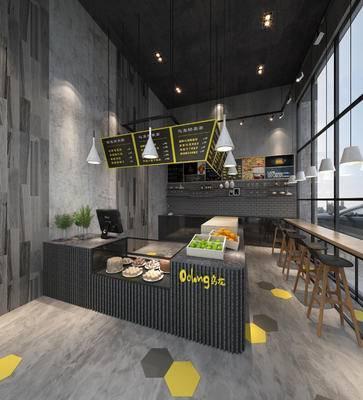 现代咖啡厅, 置物柜, 吧椅, 桌子, 吊灯, 现代