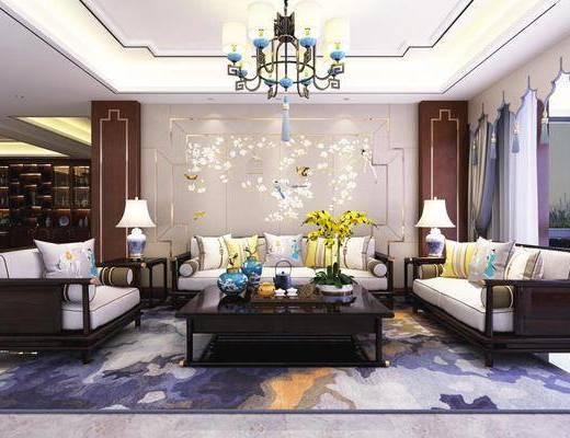 新中式, 沙发茶几组合, 吊灯, 台灯, 陈设品组合