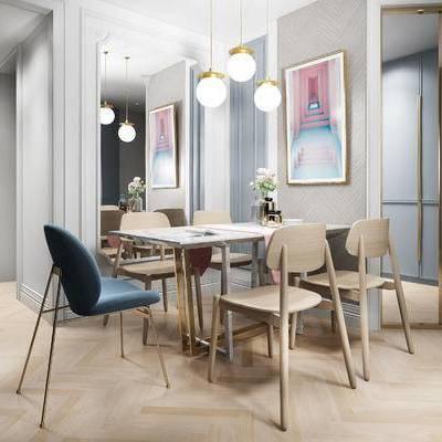 餐桌, 吊灯, 壁画, 现代
