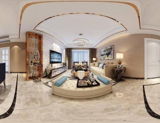 后现代客厅, 后现代沙发茶几组合, 吊灯, 壁画, 电视柜, 边几, 台灯, 桌椅组合, 相框, 储物柜, 沙发单椅, 沙发长椅, 后现代