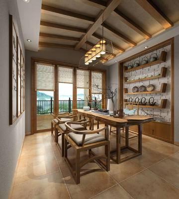 茶室, 桌子, 椅子, 置物柜, 吊灯, 壁画, 中式