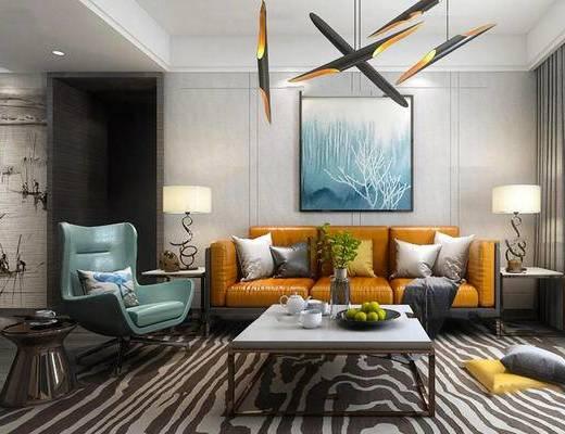 客厅, 沙发茶几组合, 陈设品组合, 吊灯, 沙发椅, 现代, 美式
