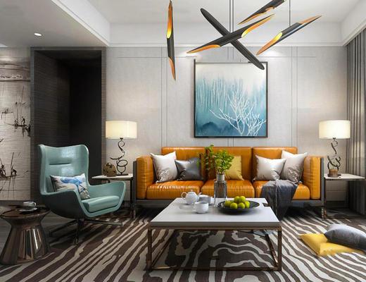 现代简约, 客厅, 沙发茶几组合, 陈设品组合, 吊灯, 沙发椅