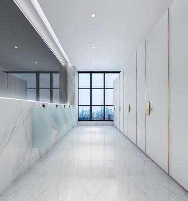 现代卫生间, 镜子, 小便器, 现代