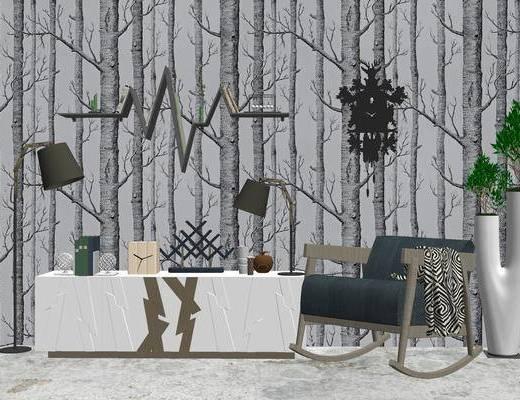 沙发组合, 单人沙发, 壁画, 落地灯, 边柜, 台灯, 现代