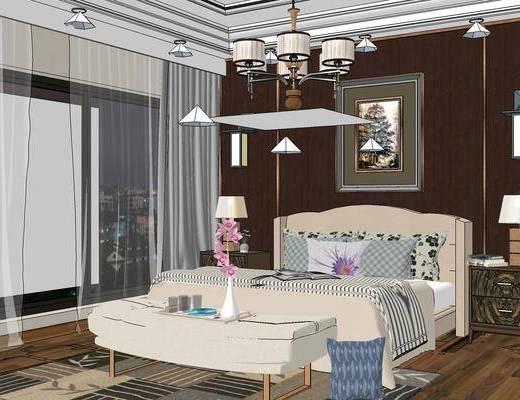 现代卧室, 双人床, 吊灯, 床尾塌, 床头柜, 台灯, 椅子, 现代