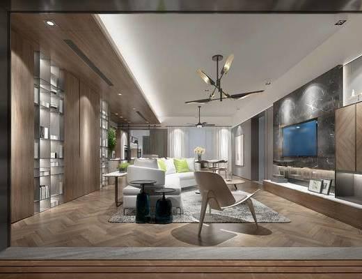后现代客厅, 吊灯, 电视柜, 多人沙发, 茶几, 椅子, 边几, 置物柜, 桌子, 后现代
