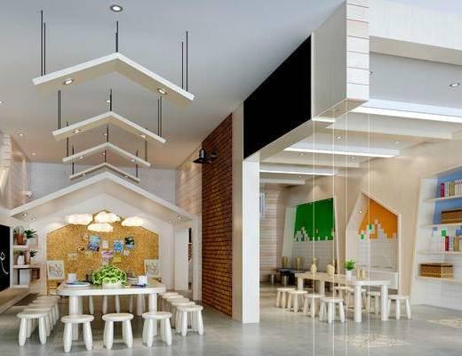 学校, 桌子, 置物架, 壁画, 吊灯, 凳子, 现代