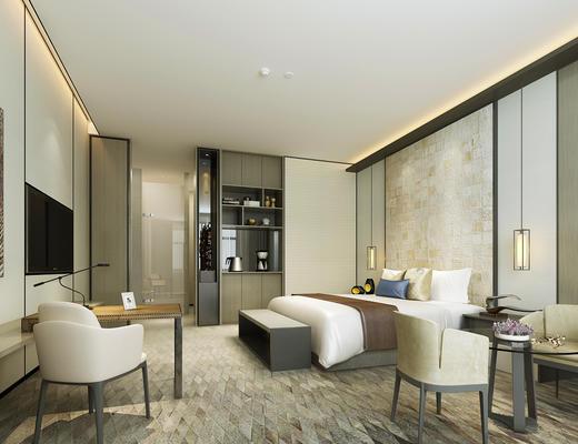 现代简约, 酒店客房, 桌椅组合, 床具组合, 陈设品组合