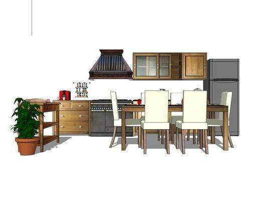 橱柜, 厨柜, 厨房, 桌椅组合, 餐桌, 椅子, 植物, 盆栽, 现代