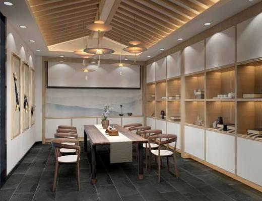 新中式茶室, 吊灯, 桌子, 椅子, 壁画, 置物柜, 花瓶, 地毯, 新中式