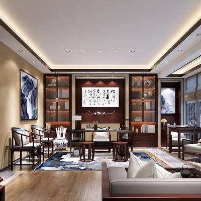 中式书房, 壁画, 桌子, 椅子, 凳子, 置物柜, 边几, 盆栽, 多人沙发, 中式