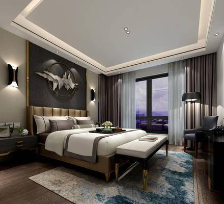 现代简约, 卧室, 床具组合, 椅子, 壁灯