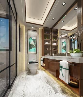 现代卫浴, 洗手台, 马桶, 壁画, 毛巾, 盆栽, 现代