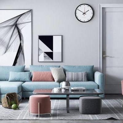 北欧客厅, 茶几, 多人沙发, 椅子, 沙发凳, 壁画, 时钟, 地毯, 北欧