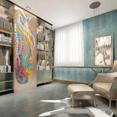 现代书房, 壁画, 吊灯, 储物柜, 椅子, 现代