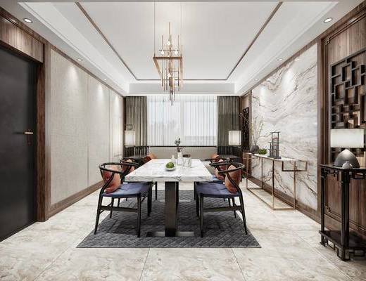 中式餐厅, 吊灯, 桌子, 椅子, 沙发, 落地灯, 台灯, 边几, 花瓶, 中式