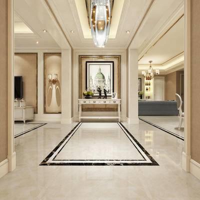 玄关走廊, 吊灯, 壁画, 边几, 多人沙发, 电视柜, 椅子, 壁灯, 美式