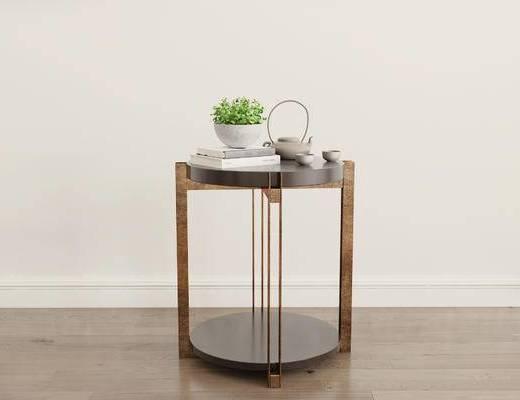 摆件组合, 茶几, 盆栽, 茶具, 现代