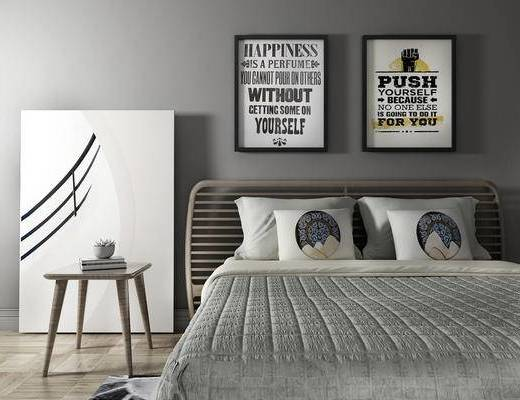 双人床, 边几, 壁画, 新中式