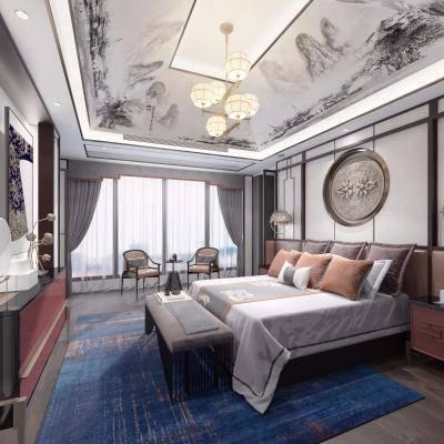 新中式卧室, 双人床, 吊灯, 壁画, 桌椅组合, 柜子, 地毯, 尾塌, 新中式