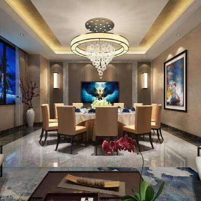 中式包间, 吊灯, 桌子, 椅子, 壁画, 壁灯, 茶几, 中式