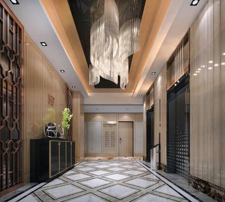 走廊过道, 边柜, 吊灯, 现代